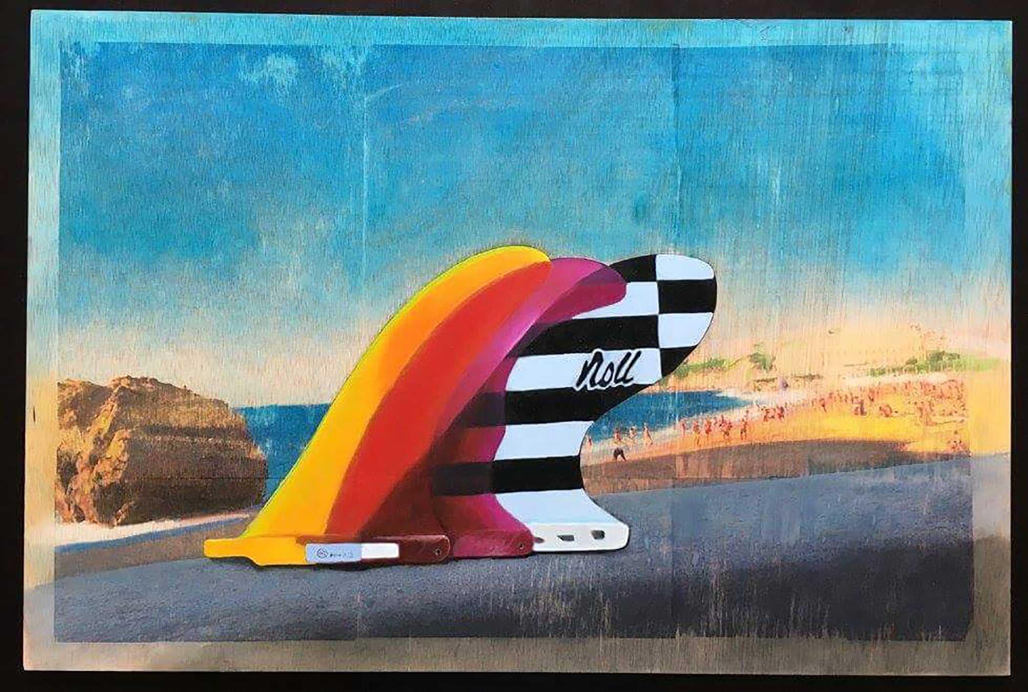 """La Grande Plage"" Mixed Media/ Oil on Wood 60cm x 40cm 2015"