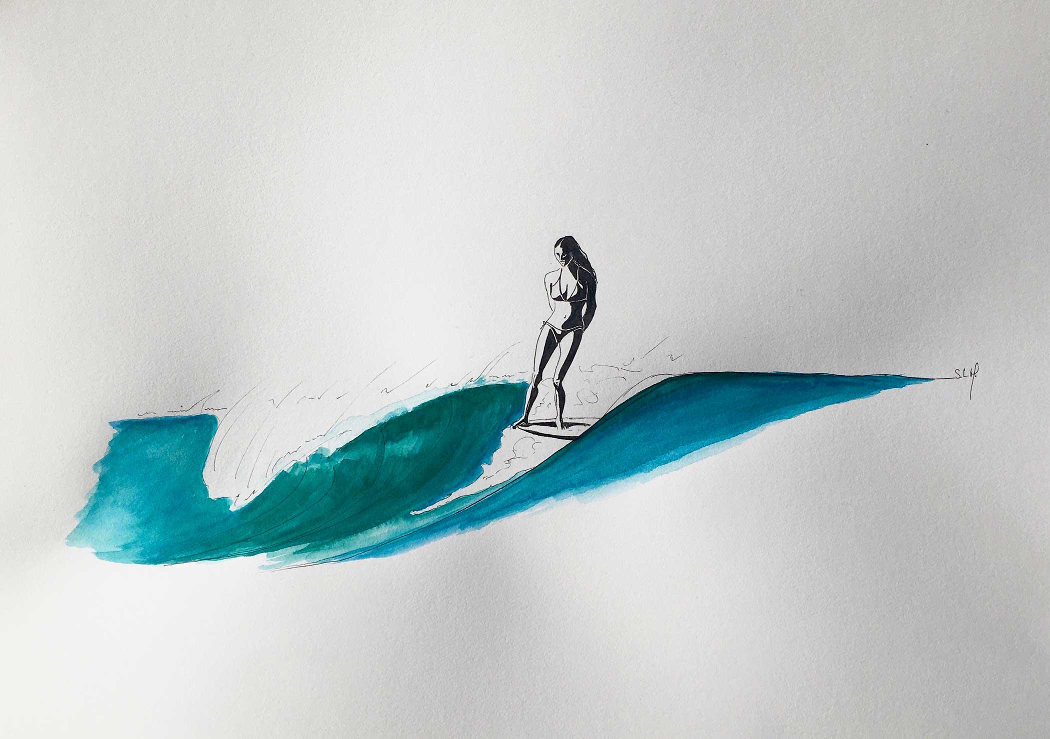 Casual Hang Five Encre et Aquarelle sur papier A3 (29,7cm x 42cm) 2018