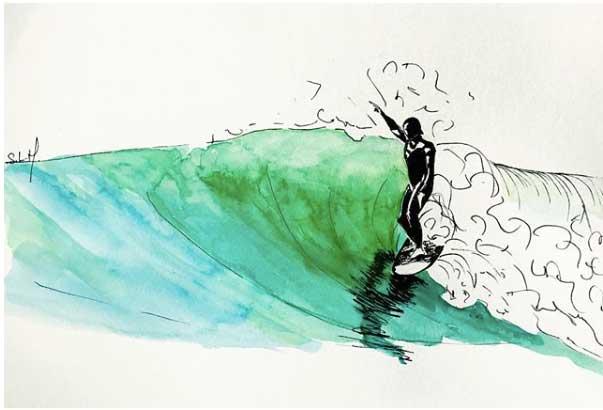 Green Cruising Encre et Aquarelle sur papier A5 (14,8cm x 21cm) 2018