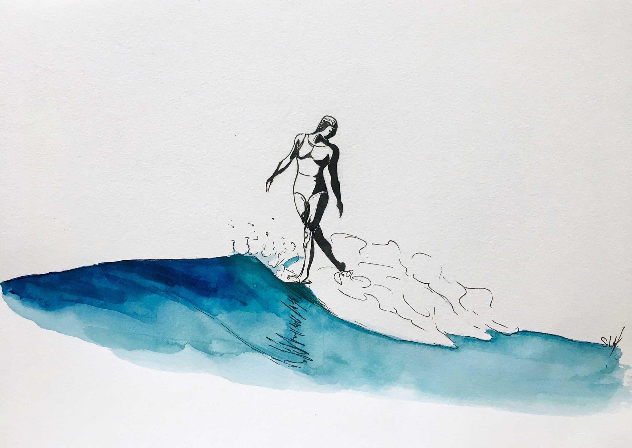 Looking Back Encre et Aquarelle sur papier A4 (24cm x 29,7cm) 2018