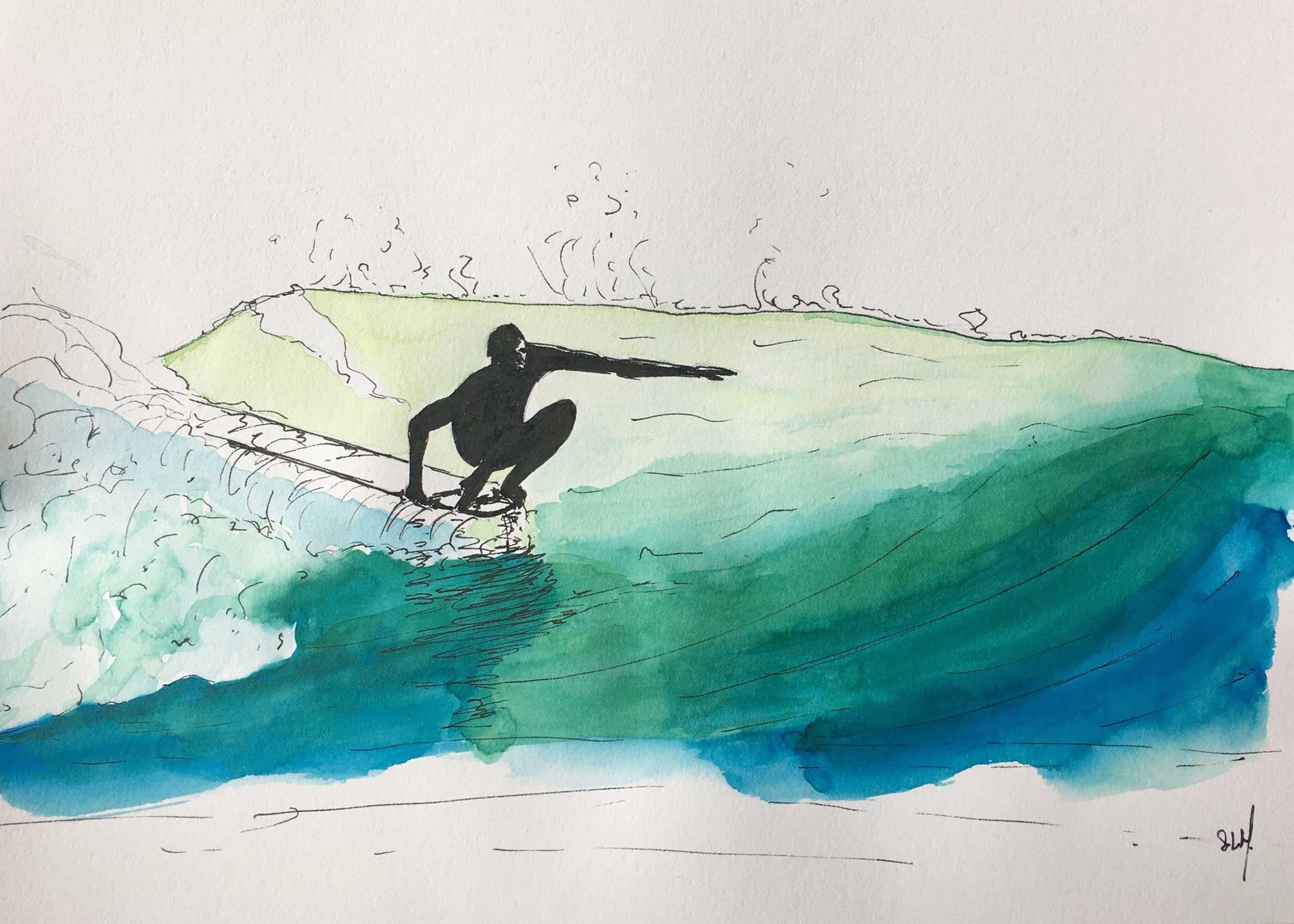 Monkey Surfing Encre et Aquarelle sur papier A4 (24cm x 29,7cm) 2018