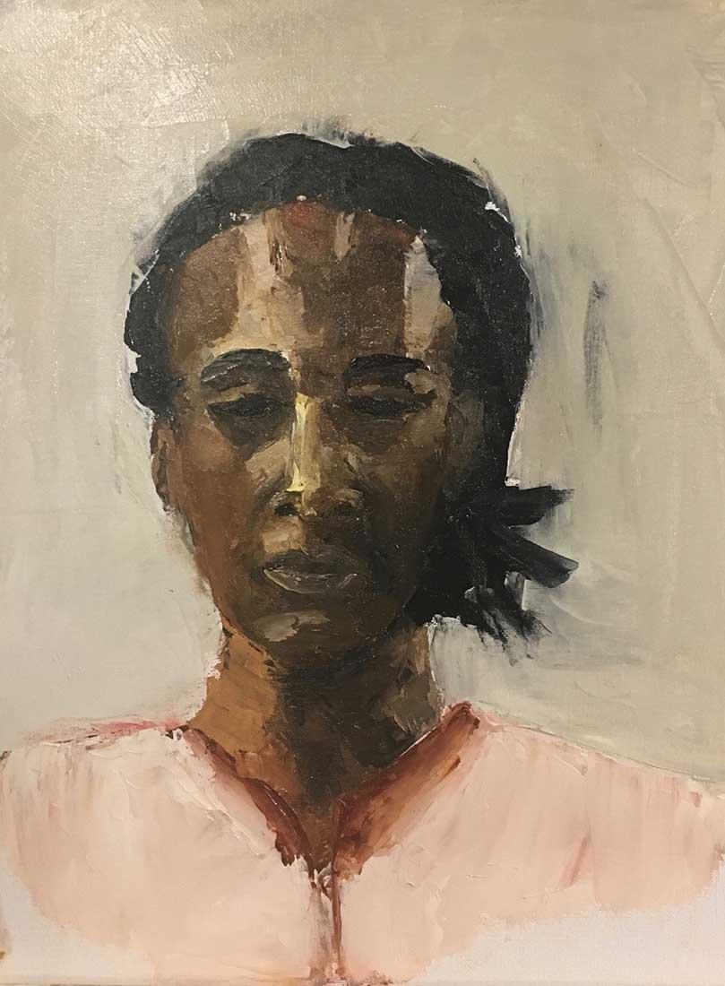 Black Lady Peinture à l'huile au couteau sur Carton entoilé 40,6 cm x 30,5 cm 2018