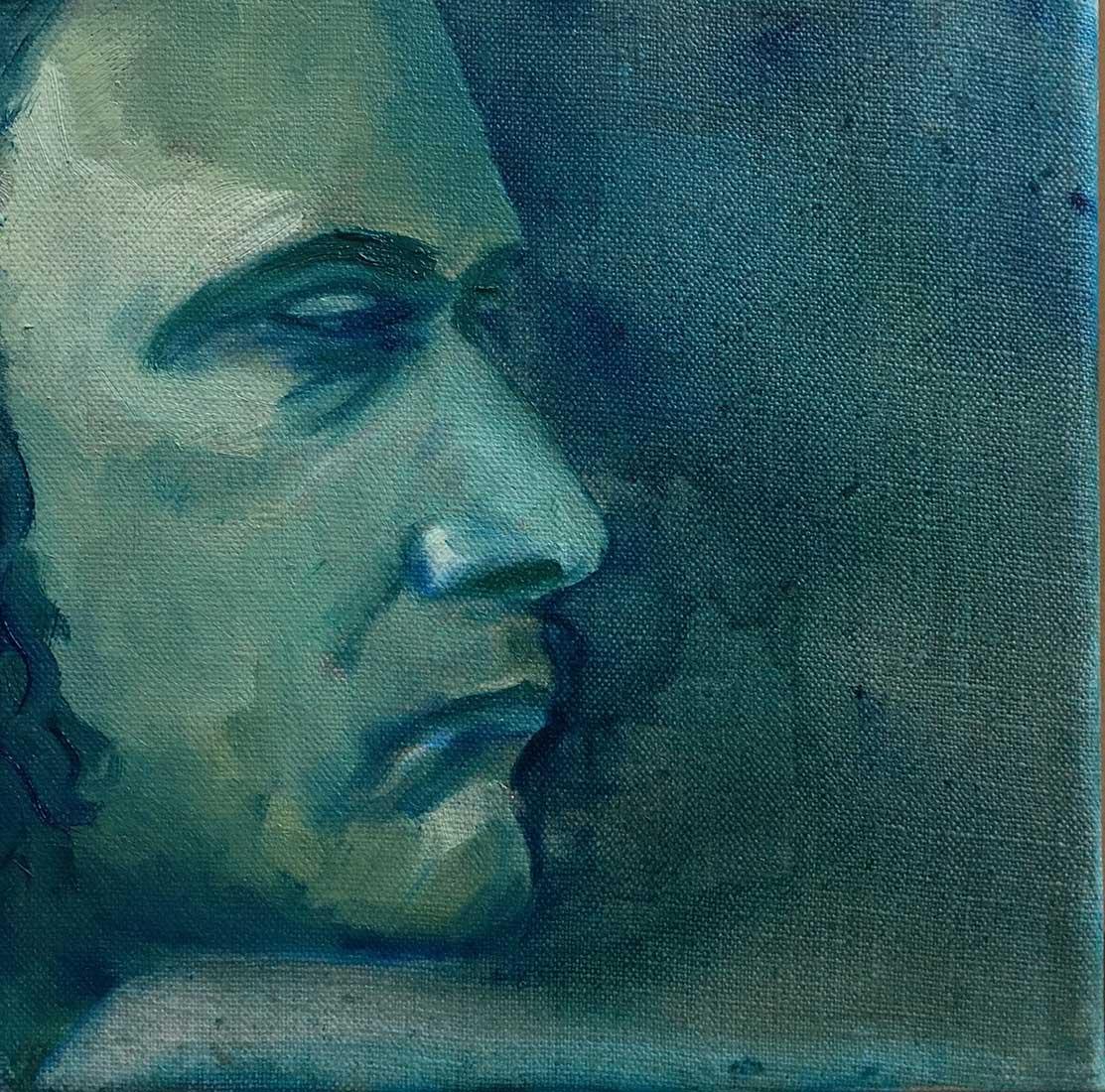 Marcus Peinture à l'huile sur Toile en Lin 20cm x 20cm 2018