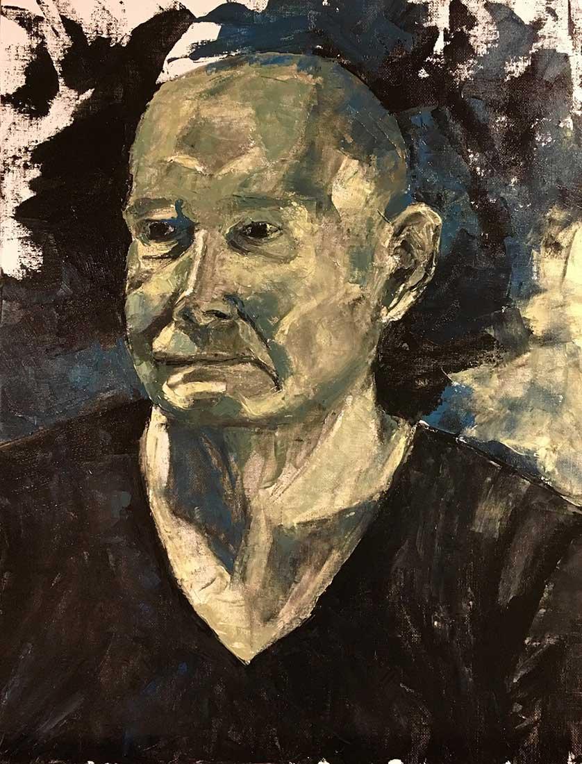 Phil Peinture à l'huile au couteau sur Carton entoilé 45,7 cm x 35,6 cm 2018