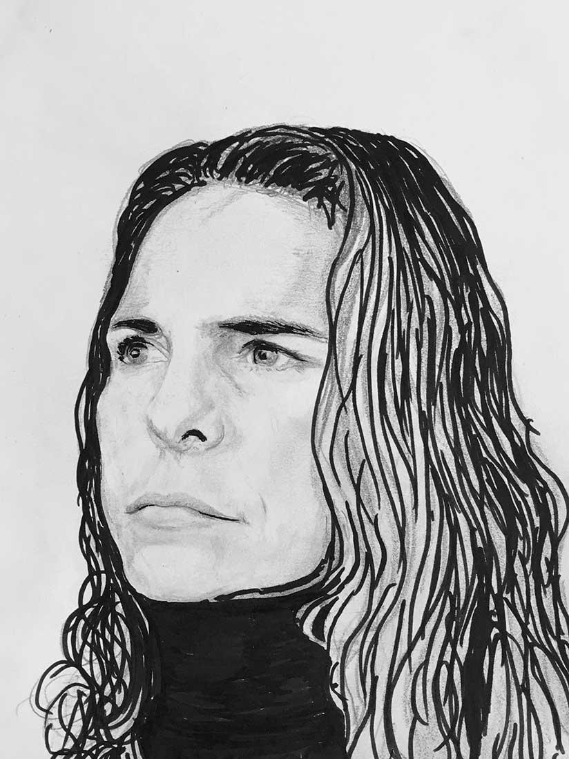 Autoportrait Encre et graphite sur papier A4 (24cm x 29,7cm) 2018