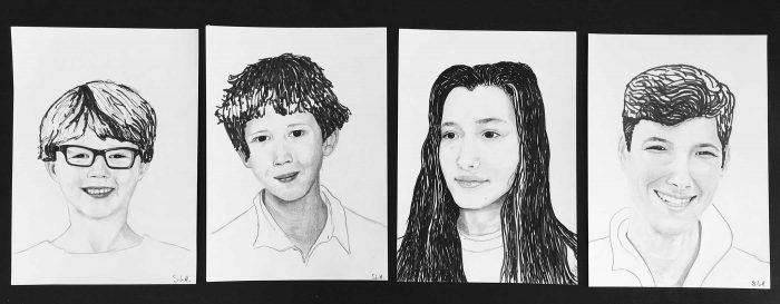 Enfants Encre et graphite sur 4 x papier A4 (24cm x 29,7cm) 2017