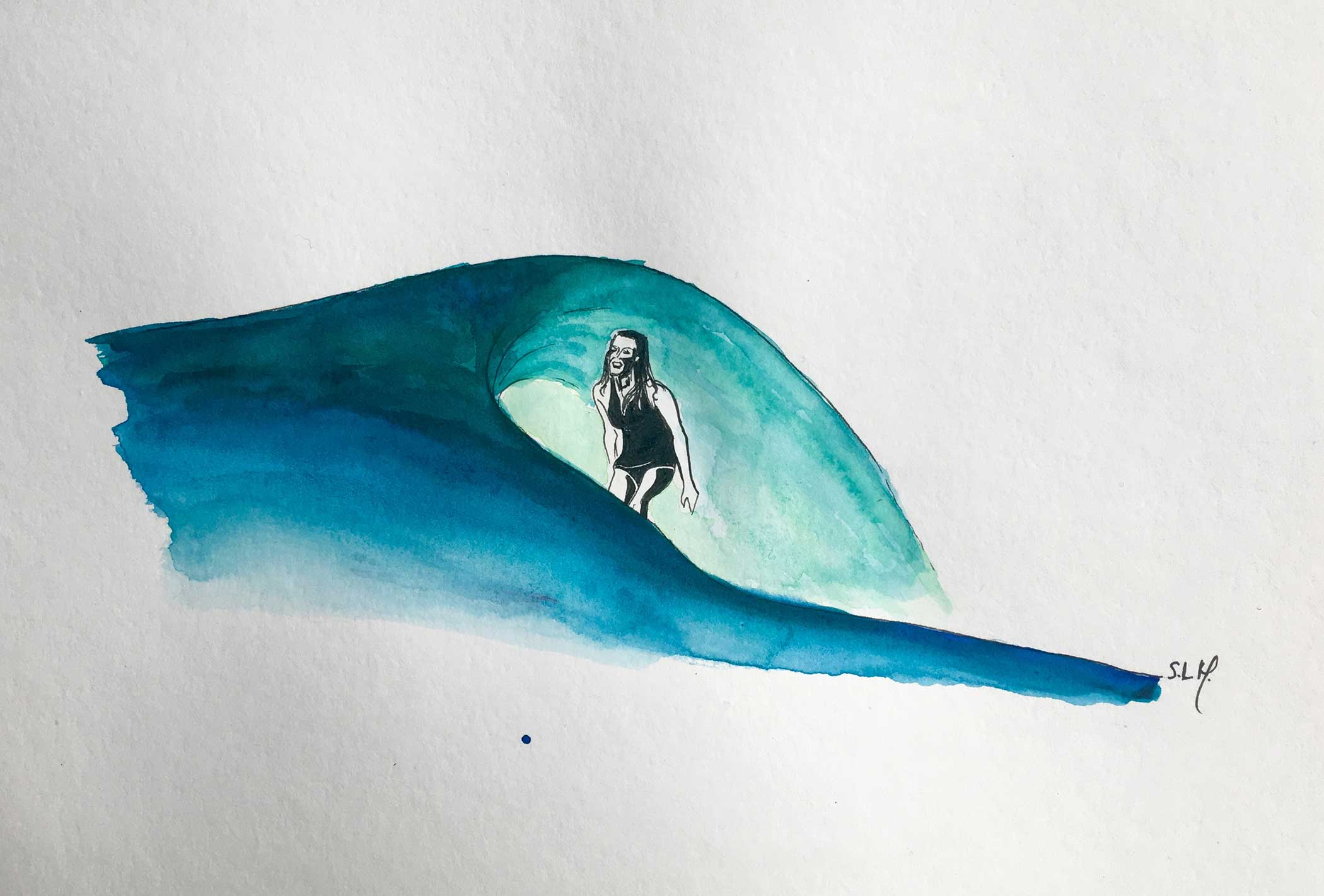 Stephanie Gilmore Encre et Aquarelle sur papier A4 (24cm x 29,7cm) 2018