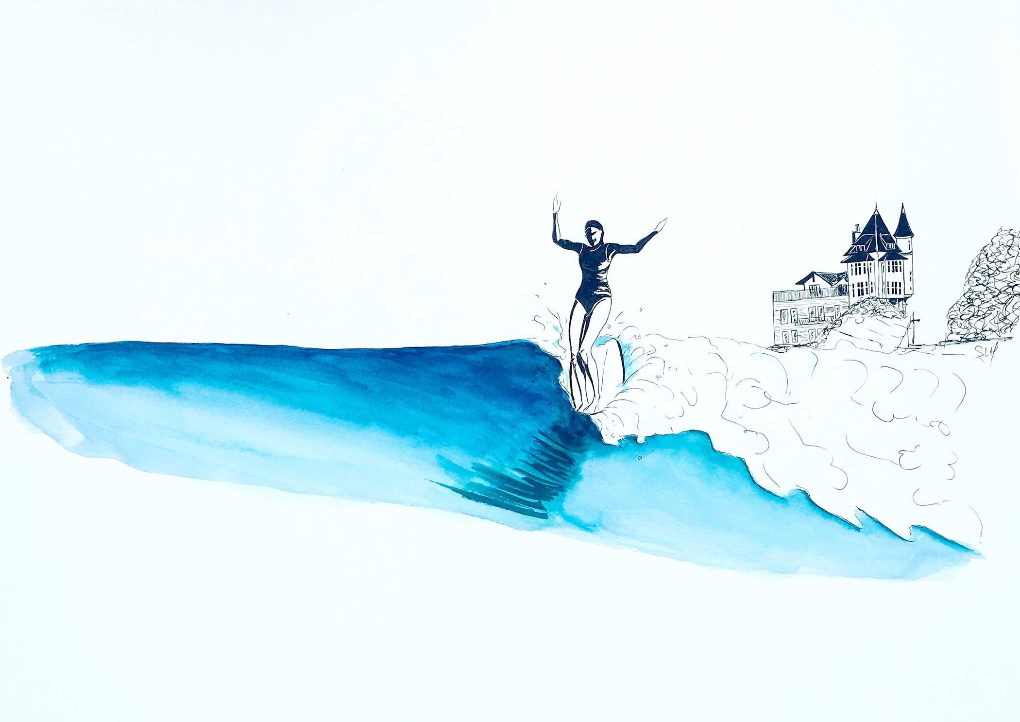 Summer in Biarritz Encre et Aquarelle sur papier 50cm x 65cm 2018