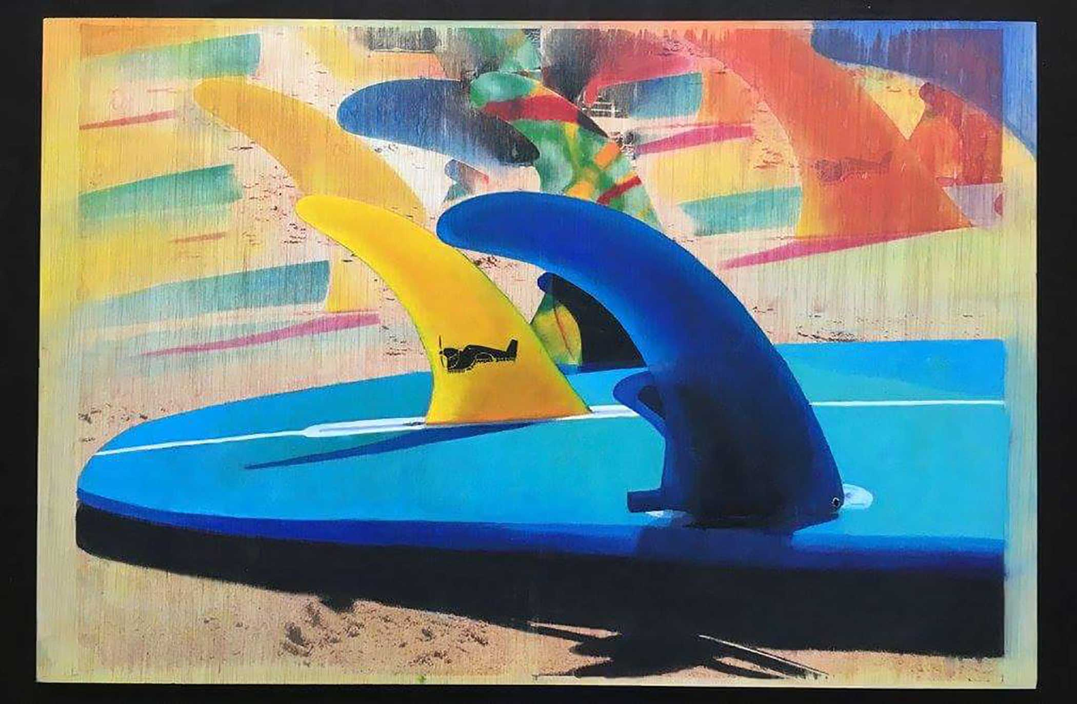 """A la Plage"" Mixed Media/ Oil on Wood 60cm x 40cm 2015"