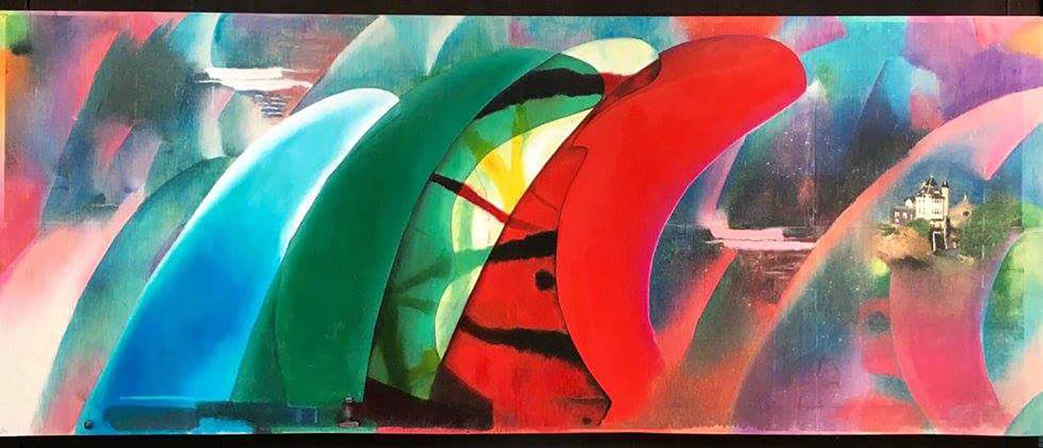 """Belza"" Mixed Media/ Oil on Wood 100cm x 40cm 2016"