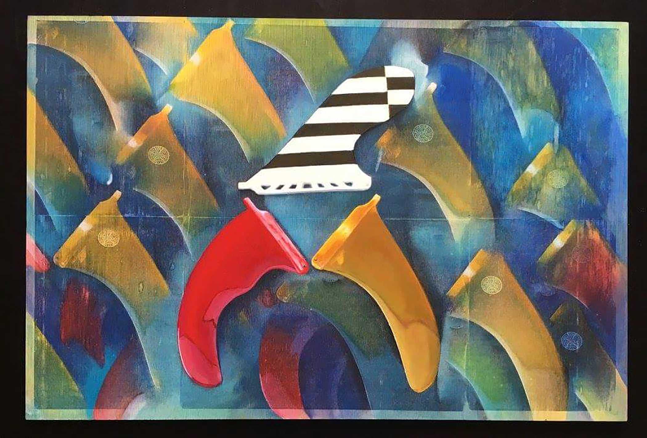 """Blue Dream"" Mixed Media/ Oil on Wood 60cm x 40cm 2016"