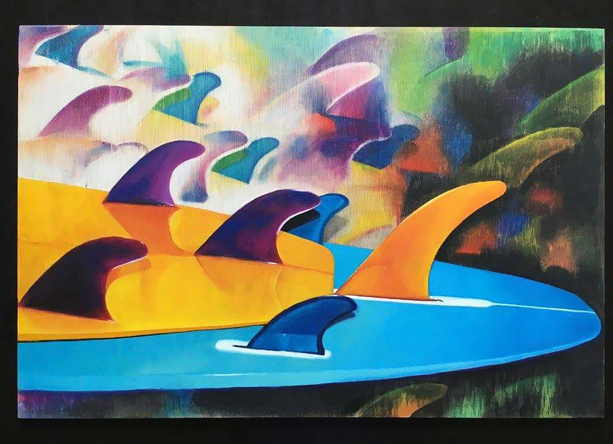"""Multicolors Fins"" Mixed Media/ Oil on Wood 60cm x 40cm 2016"