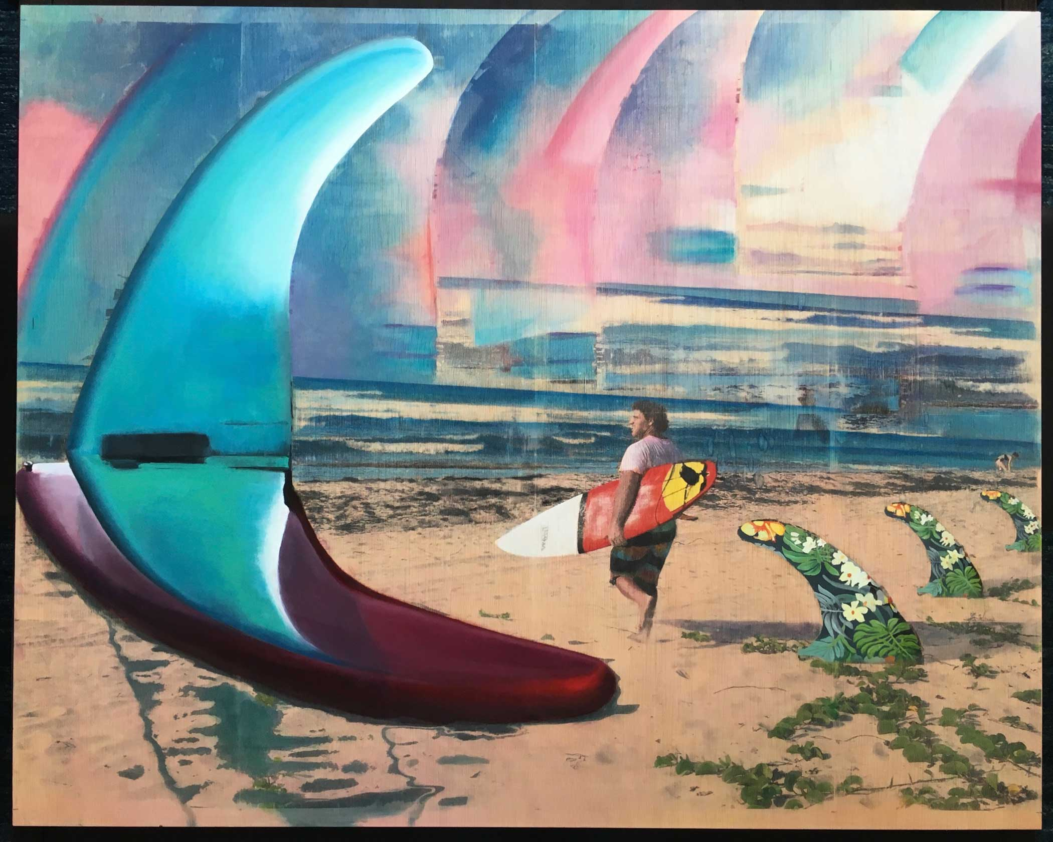 """Robodop"" Mixed Media/ Oil on Wood 100cm x 80cm 2016"
