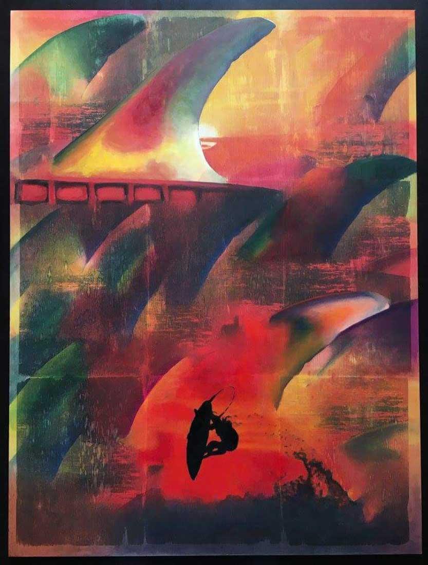 """Sunset"" Mixed Media/ Oil on Wood 100cm x 80cm 2016"