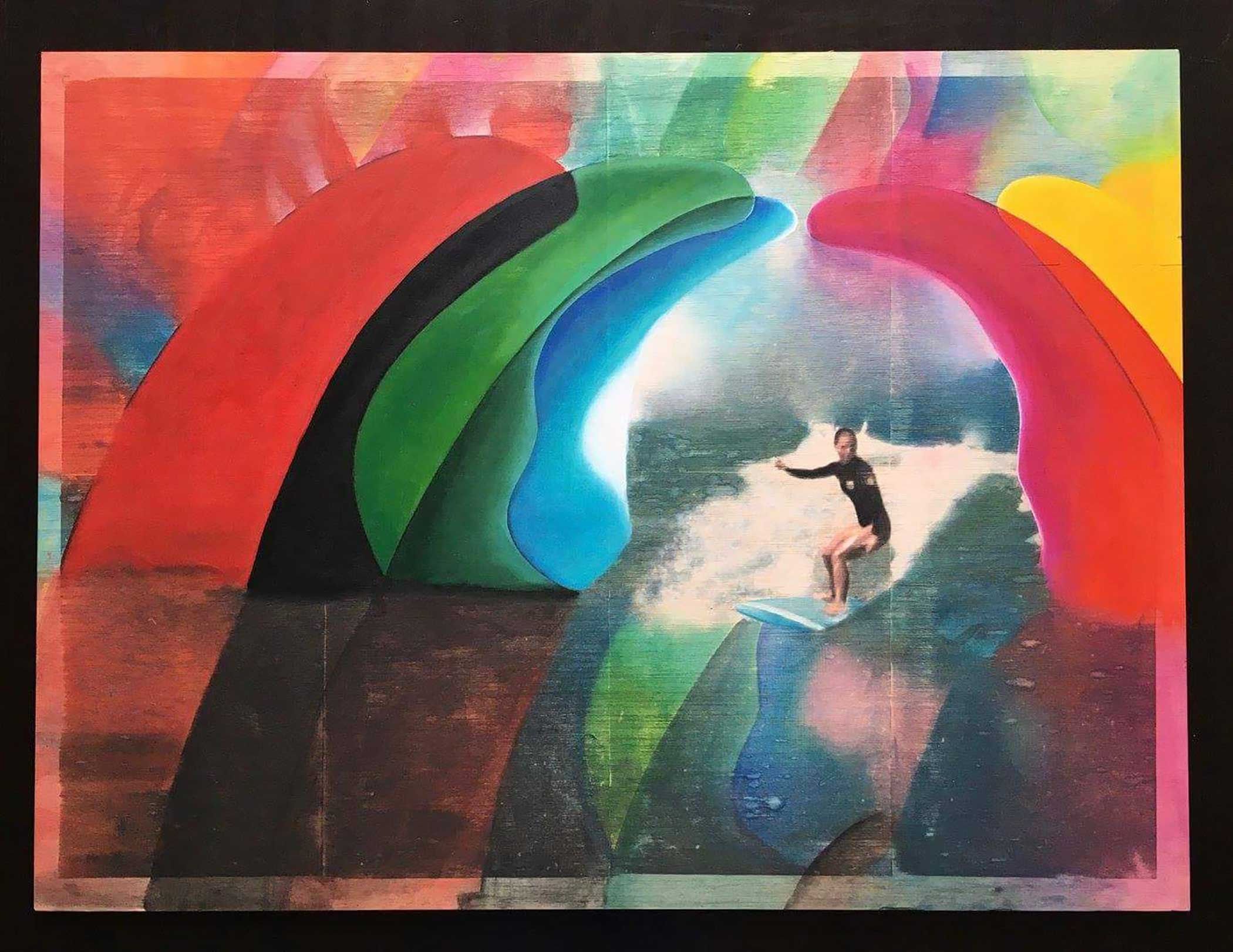 """Tunnel"" Mixed Media/ Oil on Wood 80cm x 60cm 2016"