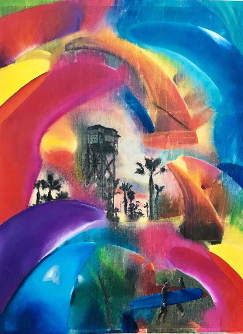 """Barceloneta"" Mixed Media/ Oil on Wood 45cm x 60cm 2017"