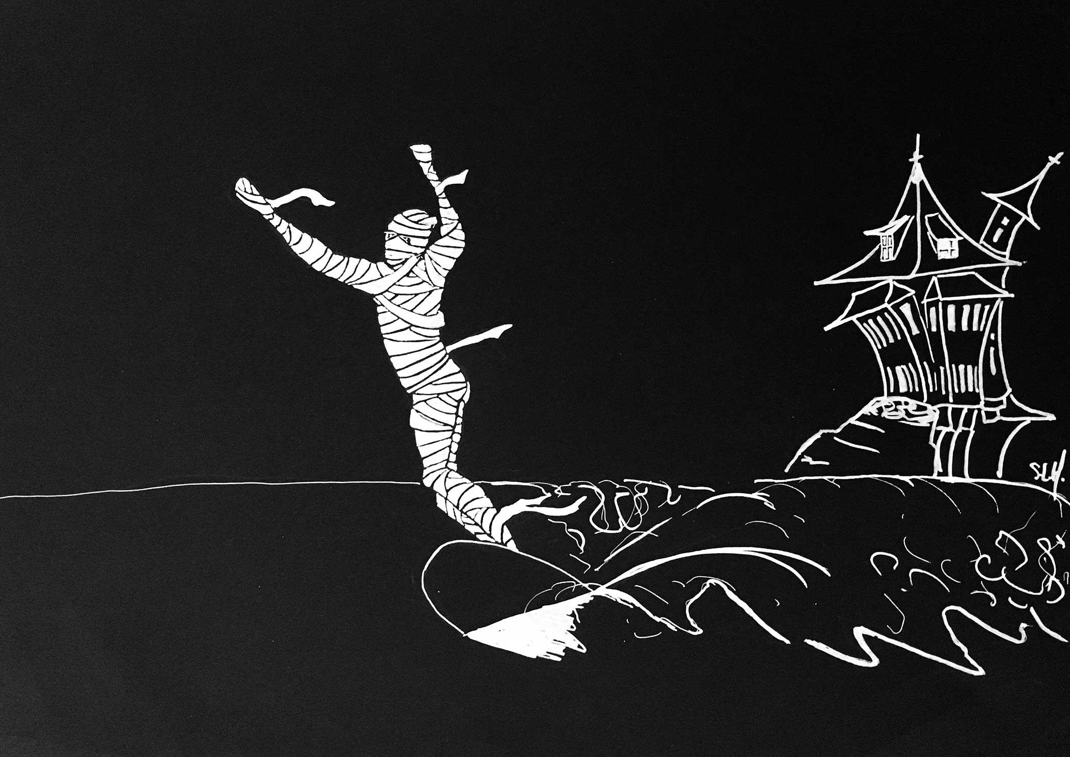 La Momie Crayon Posca blanc (peinture acrylique à base d'eau) sur papier noir A3 (29,7cm x 42cm) 2017