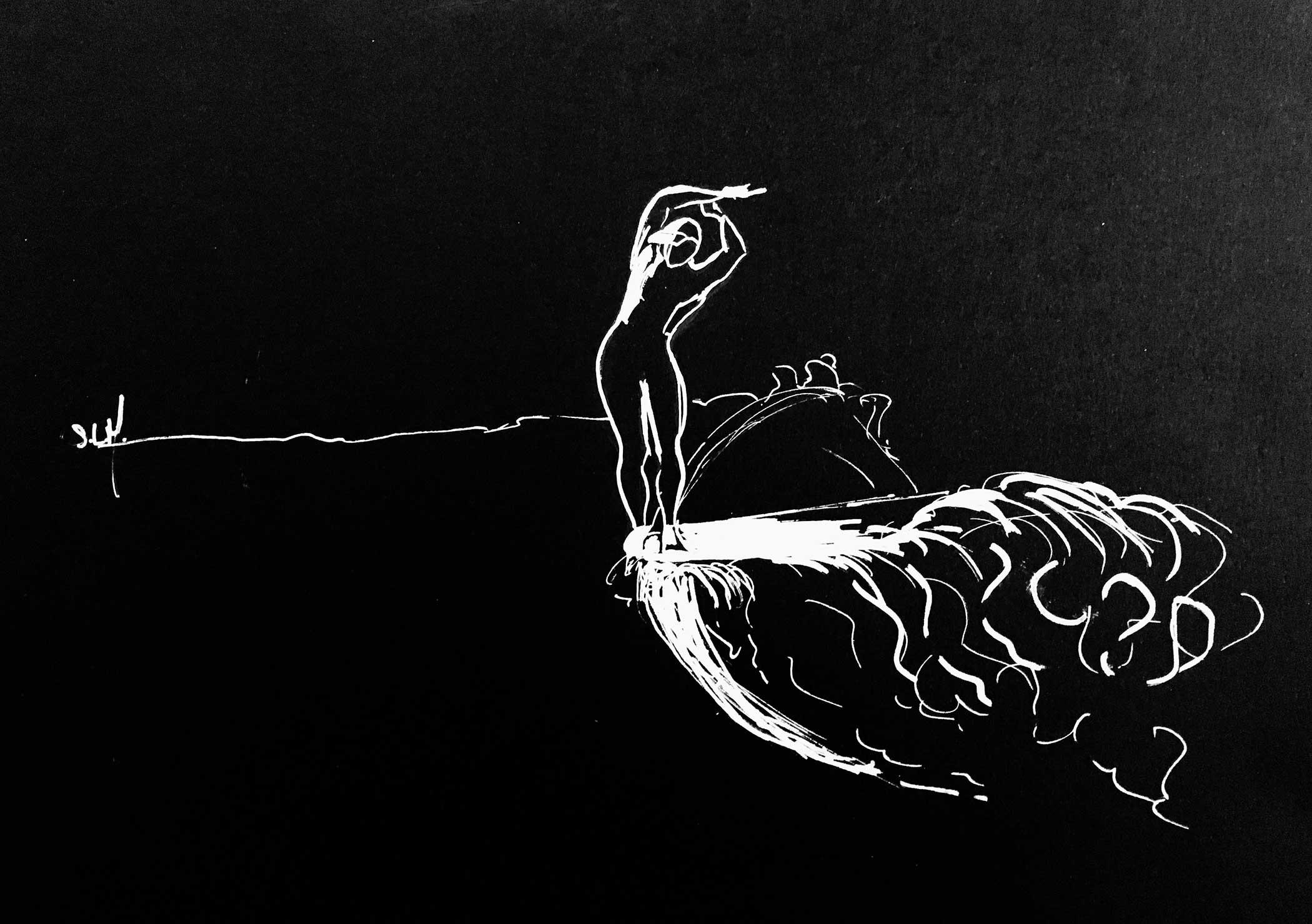 Arc Crayon Posca blanc (peinture acrylique à base d'eau) sur papier noir A4 (24cm x 29,7cm) 2018