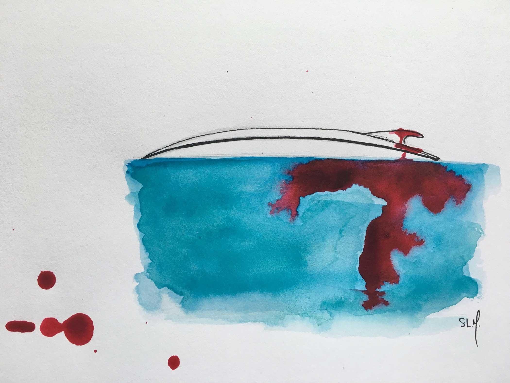 Deathly Fin Encre et Aquarelle sur papier A4 (24cm x 29,7cm) 2018