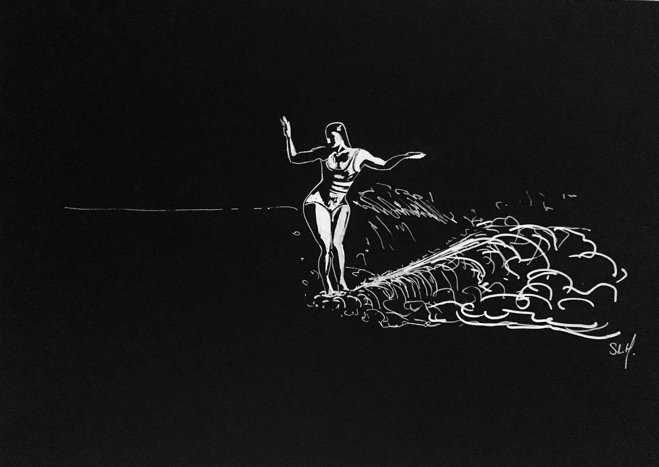 Exotic Girl Crayon Posca blanc (peinture acrylique à base d'eau) sur papier noir 2018