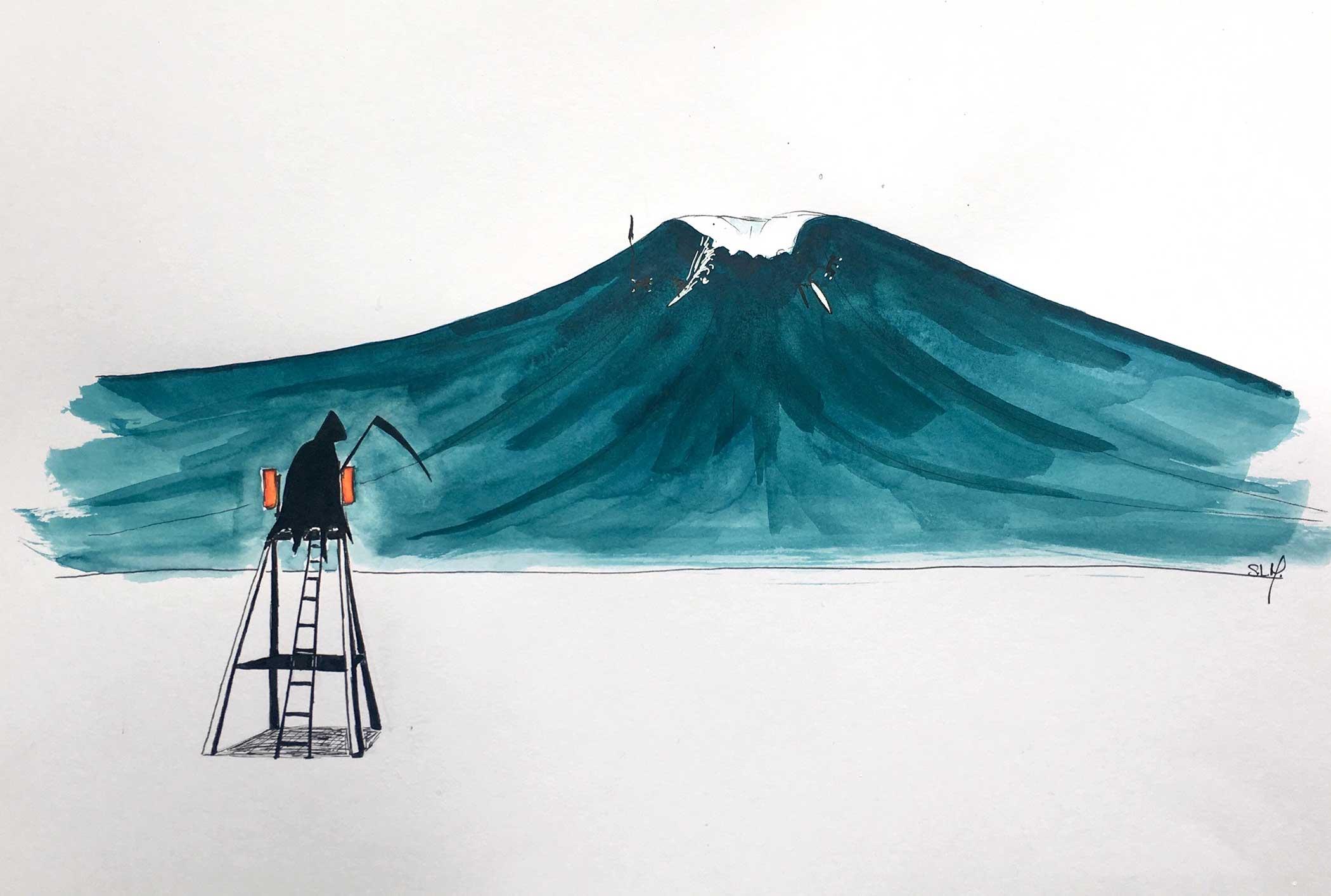 Grim Reaper Encre et Aquarelle sur papier A3 (29,7cm x 42cm) 2018