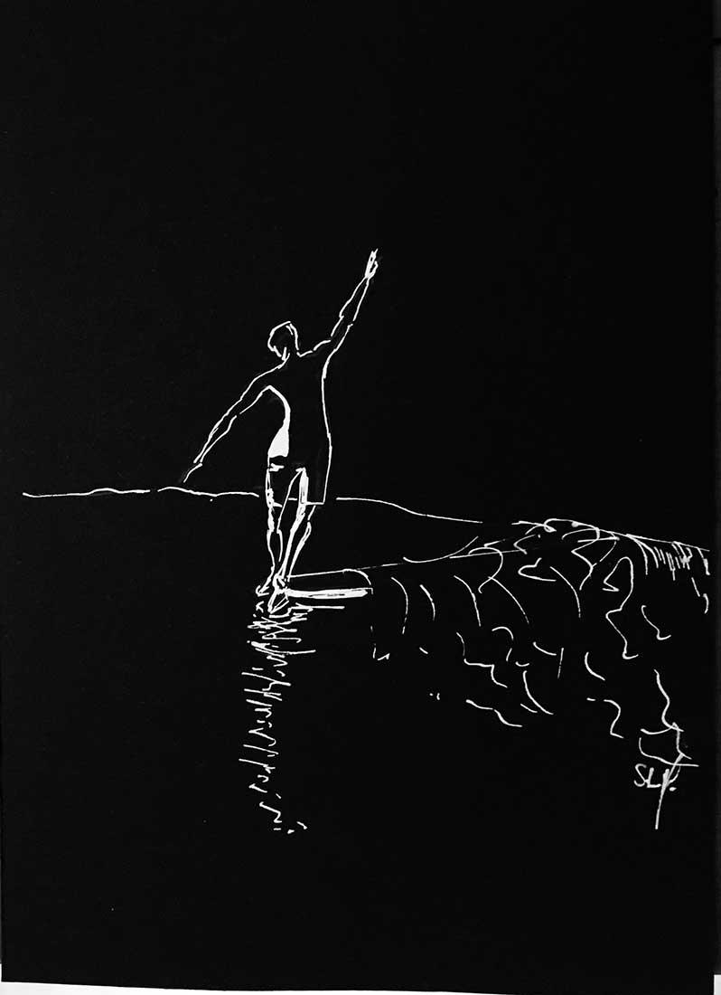 Hang Ten Reverse Crayon Posca blanc (peinture acrylique à base d'eau) sur papier noir A5 (14,8cm x 21cm) 2018