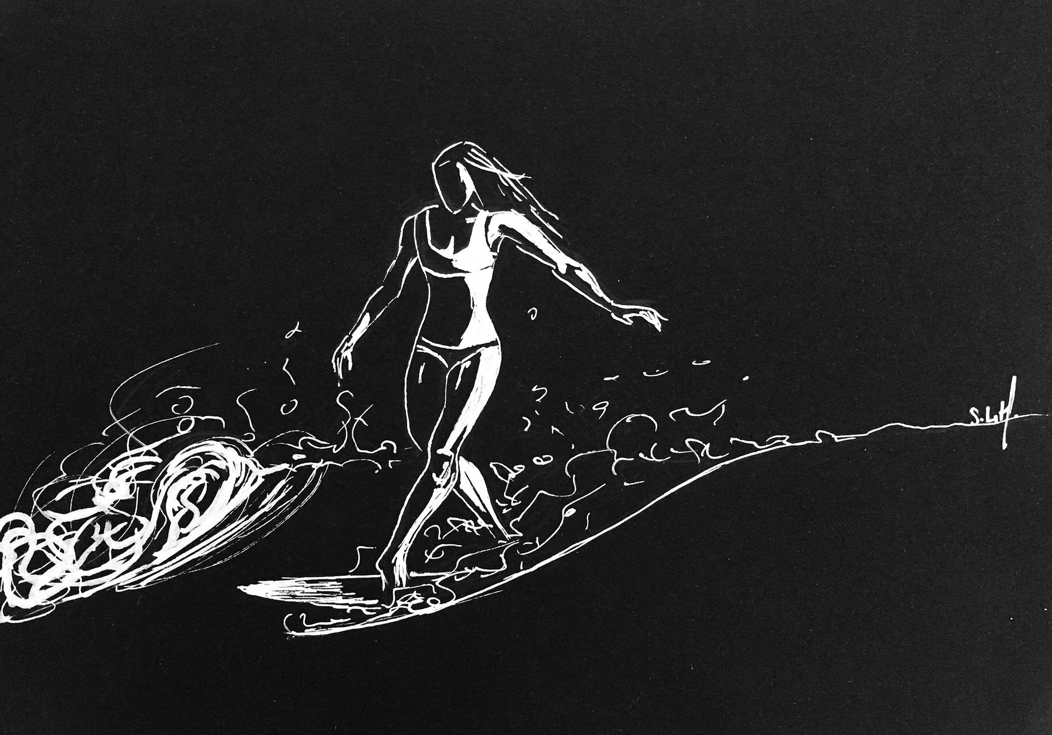 Crayon Posca blanc (peinture acrylique à base d'eau) sur papier noir A4 (24cm x 29,7cm) 2018