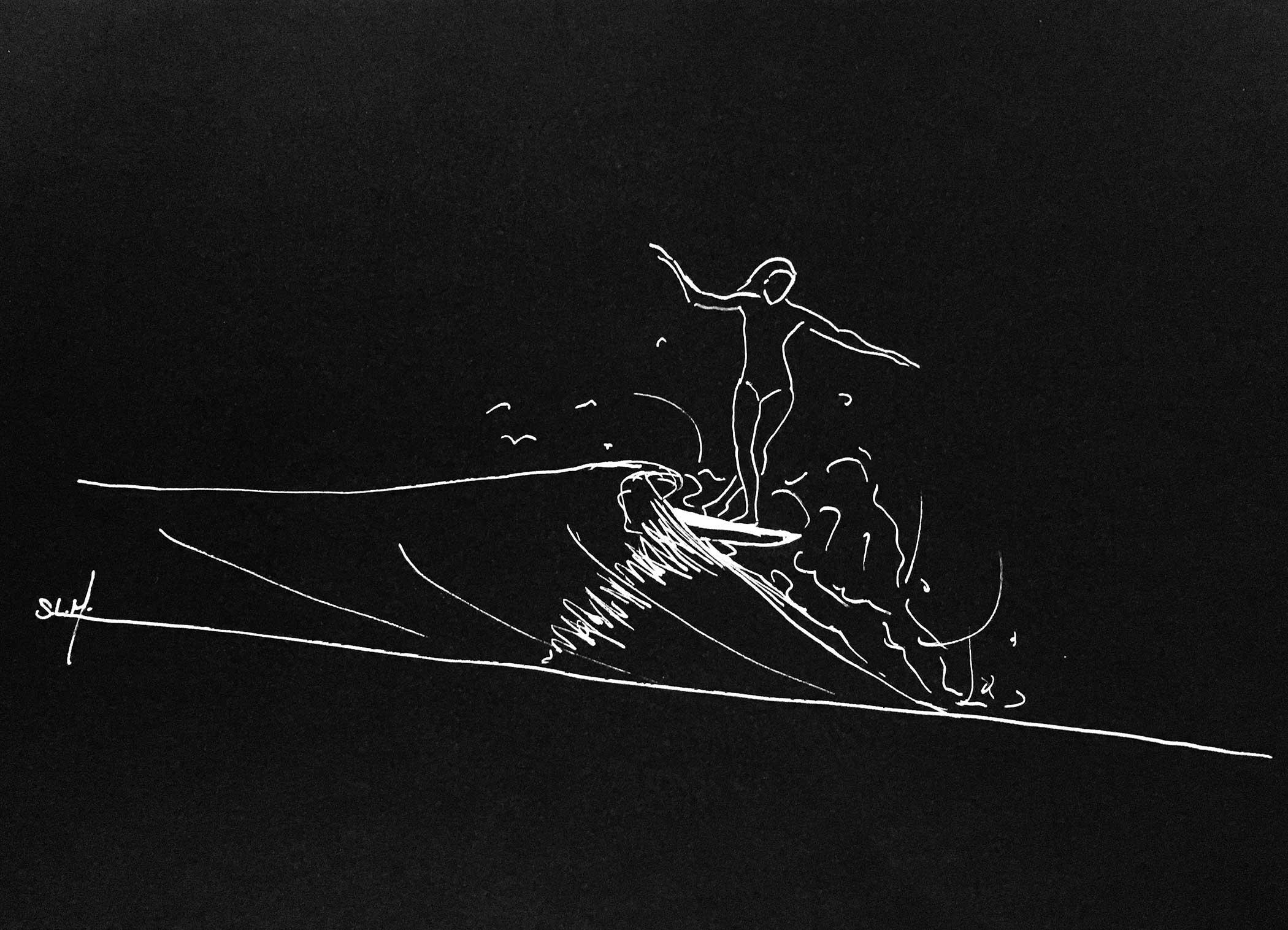 Lines Crayon Posca blanc (peinture acrylique à base d'eau) sur papier noir A5 (21cm x 14,8cm) 2018