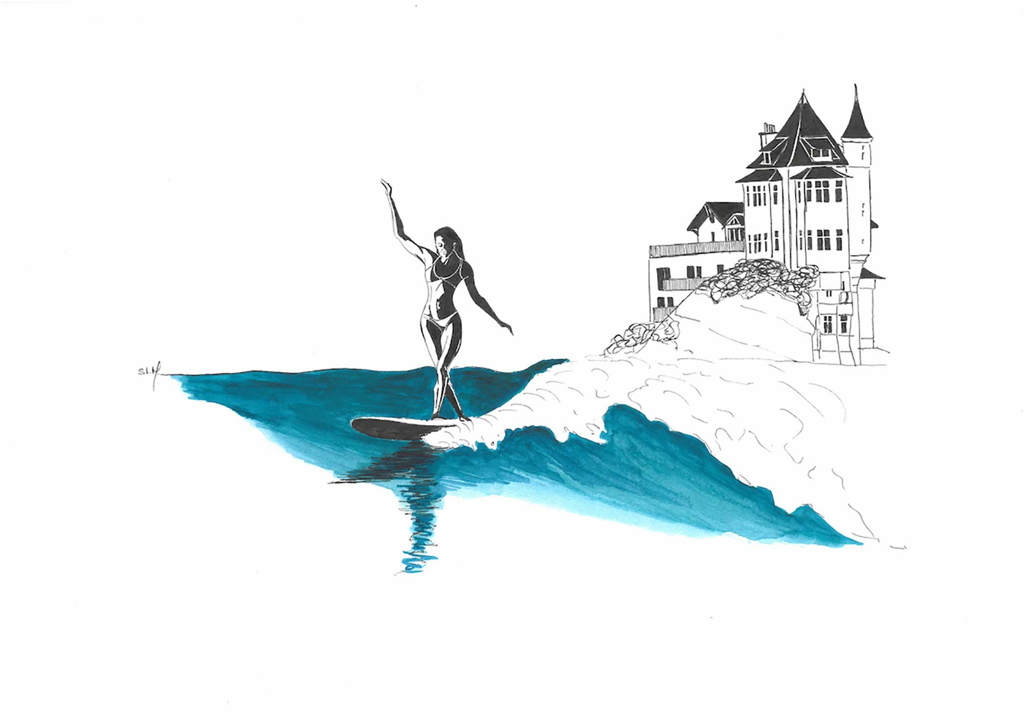 Belza Ride Encre et Aquarelle sur papier A3 (29,7cm x 42cm) 2018