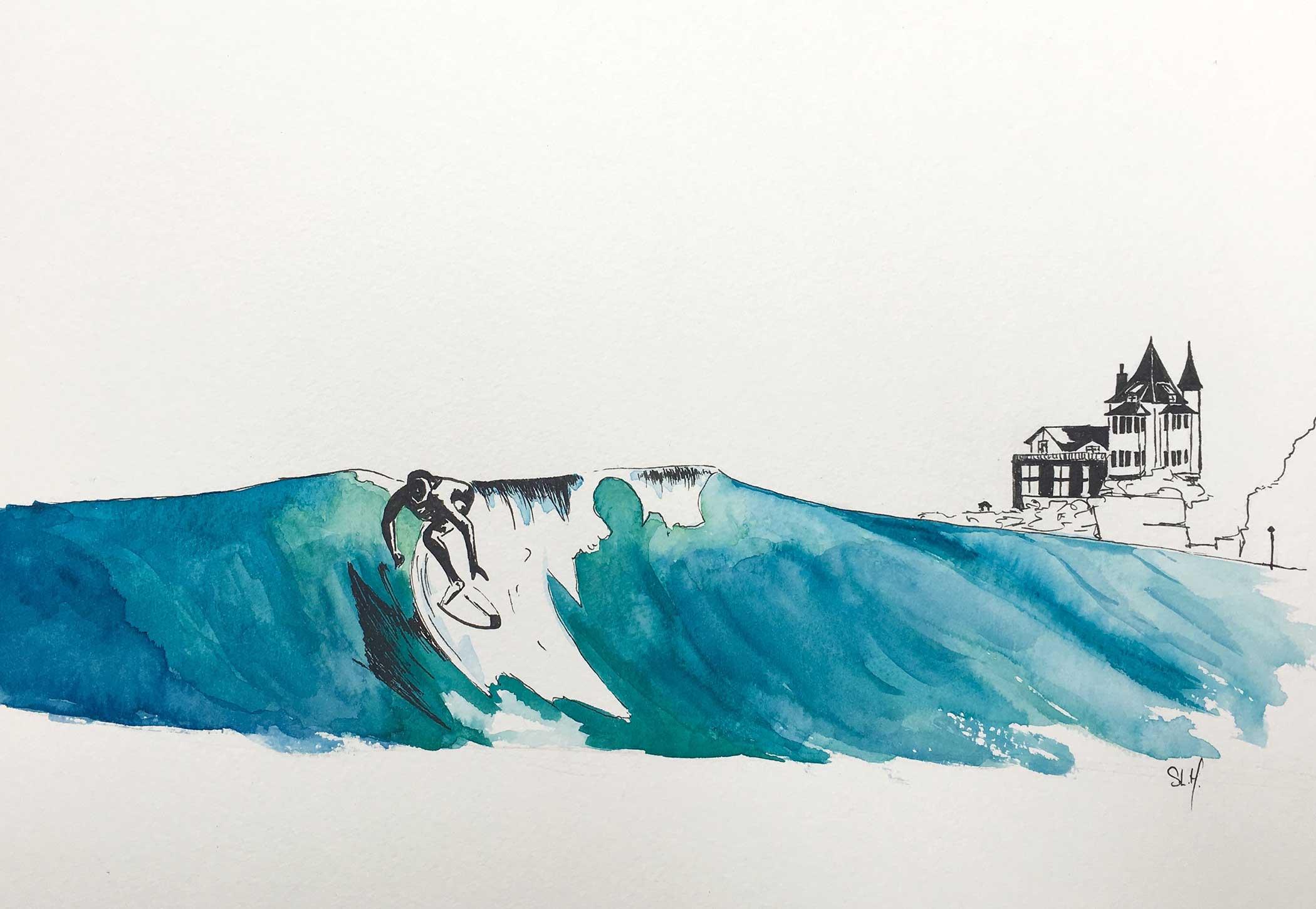 Surfing Belza Encre et Aquarelle sur papier 24cm x 32cm 2018