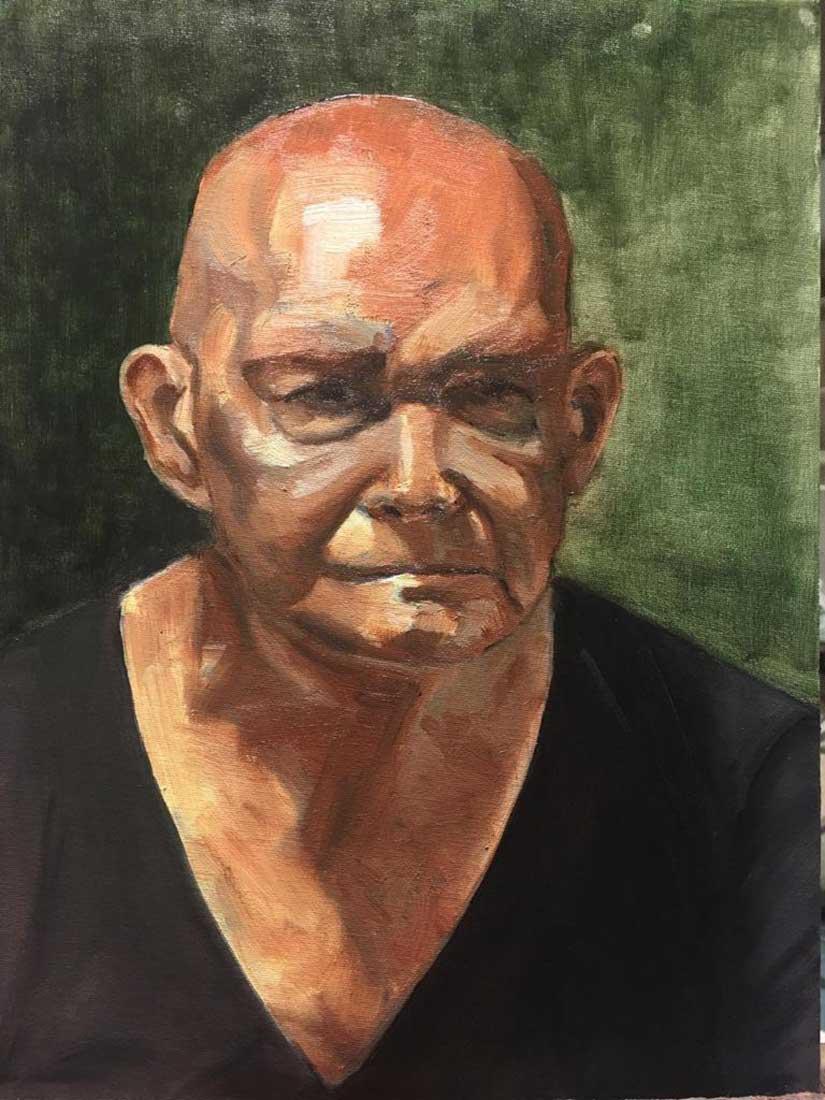 Phil Peinture à l'huile sur Carton entoilé 40,6 cm x 30,5 cm 2018
