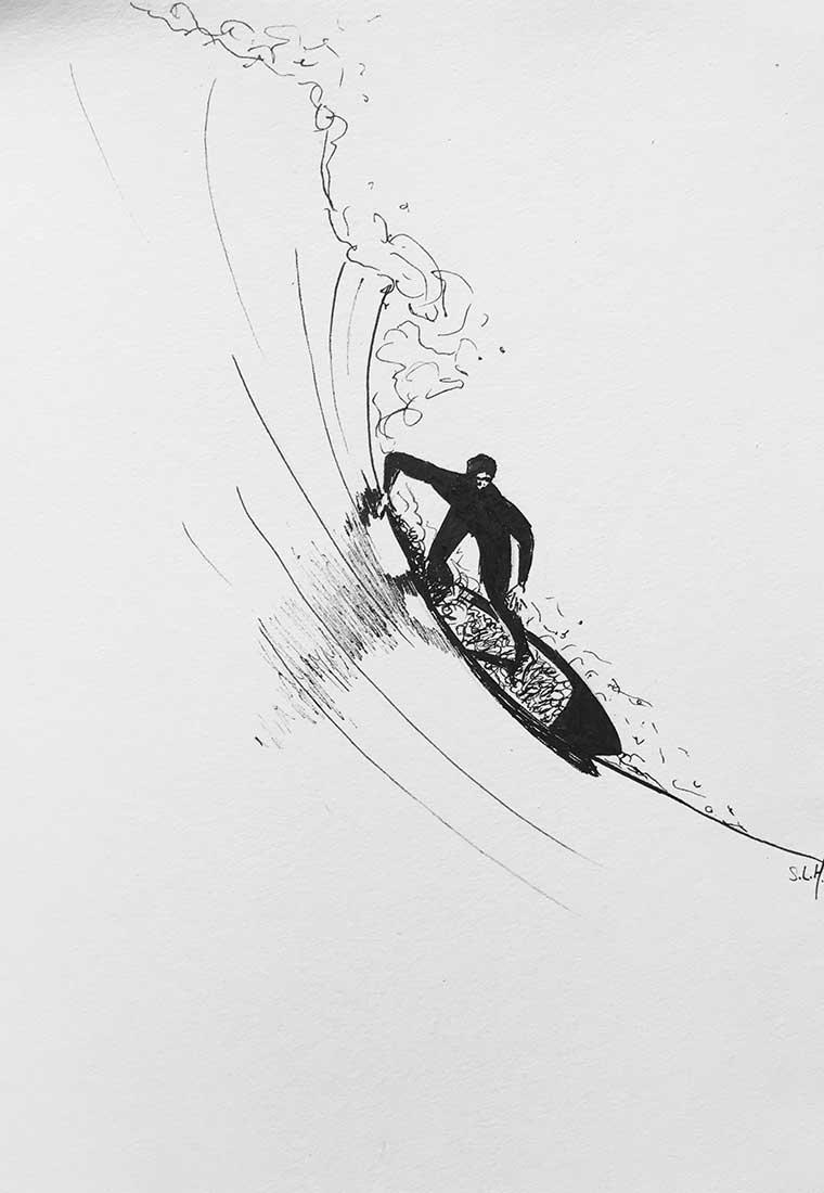 Big Wave Surfer Encre sur papier A4 (24cm x 29,7cm) 2017