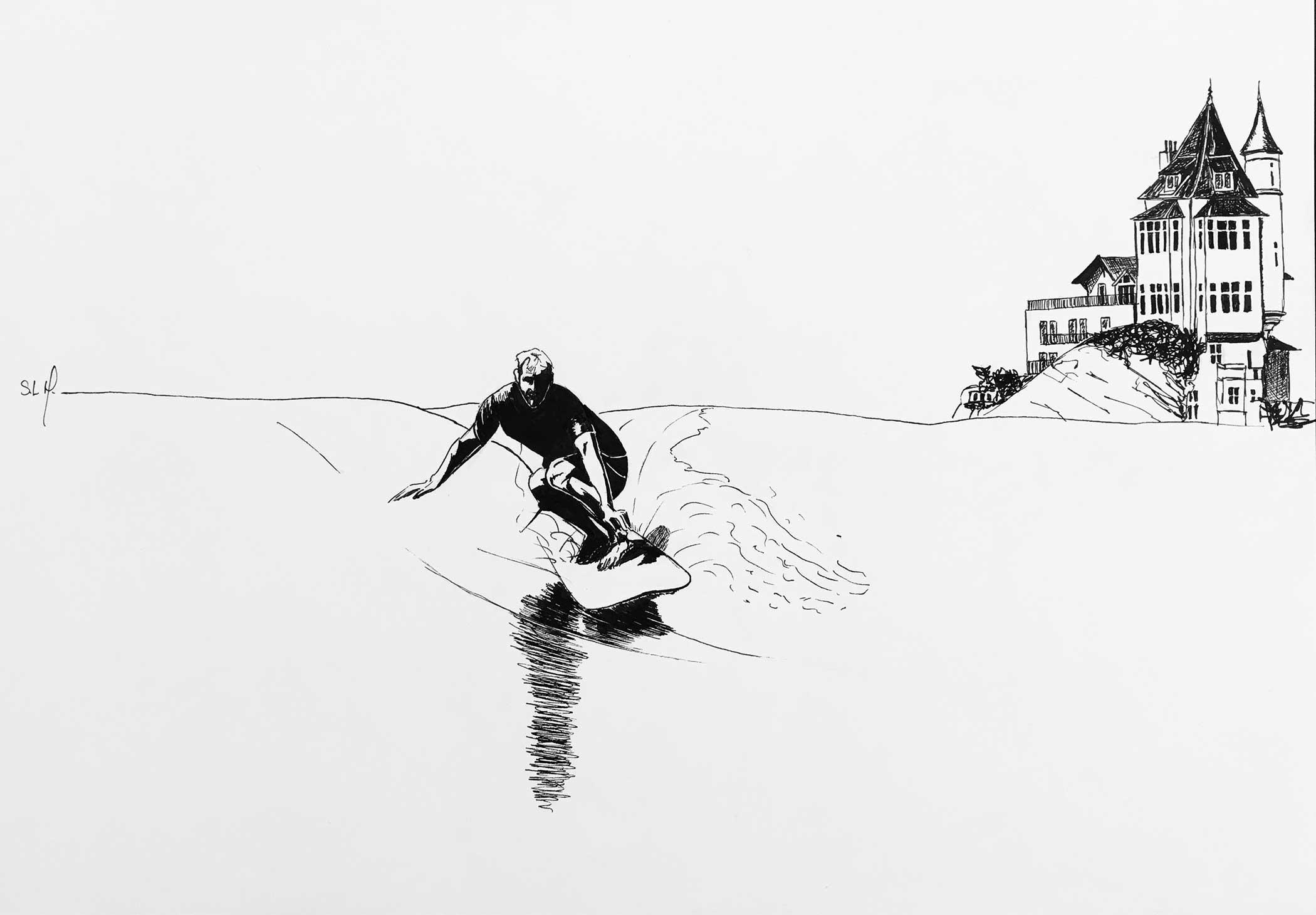 Lucas Puig at Belza Encre sur papier A3 (29,7cm x 42cm) 2018